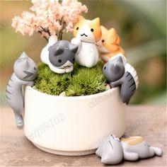 Game-Neko-Atsume-Cute-Cat-Flower-Pot-Micro-Landscape-6pcs-Set-Mini-Doll