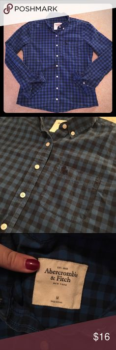 Blue plaid Abercrombie long sleeve; size medium Like new condition! Long sleeve royal blue and black plaid top. Purchased from Abercrombie and Fitch. Size medium. Make an offer :) Abercrombie & Fitch Tops Button Down Shirts