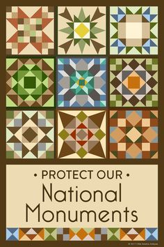 Susan Davis, owner of Olde American Antiques and American Quilt Blocks, has created a series of original quilt block designs to pay tribute to the National Park Service and the National Monuments.  The national parks and monuments face many threats, from dangers like climate change to the continued depletion of their natural resources. It is more important than ever to make it known how important our national parks and monuments are to us.