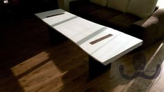Solid wood table.