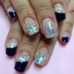 Round holo/iridescent glitters off-set with angle deep French tips