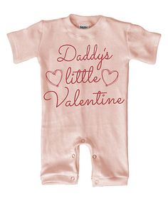 $14.99 marked down from $28! Light Pink 'Daddy's Little Valentine' Playsuit - Infant #infant #babygirl #baby #valentine #valentinesday #zulilyfinds