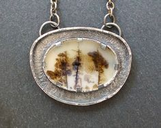 ForestBook via Etsy.  Metalwork, one of a kind dendritic agate pendant necklace in sterling silver. Modern rustic.