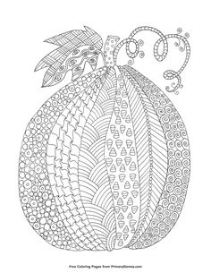 Fall Coloring Pages EBook Zentangle Pumpkin With Background