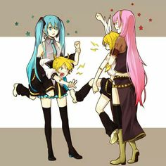 Miku and Luka breaking up a fight between the twins. ;)