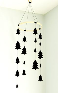 Tree mobile, woodland mobile, black tree mobile, scandinavian tree mobile… More
