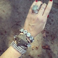 This gorgeous vintage combo was the first stack displayed on our SJA Fan Page.  It garnered so many inquires that I knew we had to give it more  attention. The stack consists of both an over sized and multi strand  rhinestone bracelets which provide contrast for this amazing pyrite and  crystal cuff