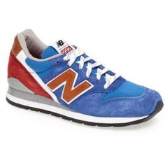 Styled like a retro running shoe, a street-style sneaker offers versatile style and a classic silhouette. Color (s) : black/ silver, blue/red, dark grey, navy. Brand: New Balance. Style Name: New Balance '996' Sneaker (Men) . Style Number: 671775.