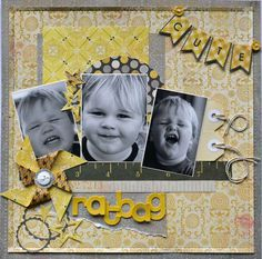 smaller photos/one a little bigger~ different expressions Scrapbook Layout Sketches, Scrapbooking Layouts, Scrapbook Pages, Baby Book Pages, Cute Scrapbooks, Creativity Quotes, Photo Layouts, Pinwheels, Ideas Magazine
