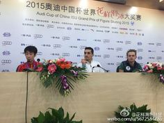 Boyang Jin(China) ,Javier Fernandez(Spain) and Sergei Voronov(Russia) : Cup of China 2015