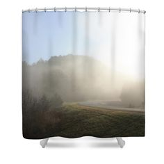 """Foggy Road Shower Curtain for sale by Inspired Arts.  This shower curtain is made from 100% polyester fabric and includes 12 holes at the top of the curtain for simple hanging.  The total dimensions of the shower curtain are 71"""" wide x 74"""" tall."""