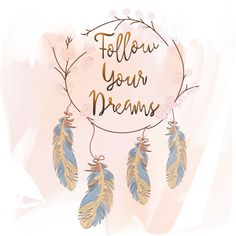Feathers and dreams catcher on pink background Premium Vector