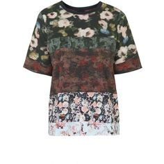 TOPSHOP Camouflage Floral Print Tee ($59) ❤ liked on Polyvore featuring tops, t-shirts, burgundy, polyester t shirts, butcher block top, t shirts, black top e print tees