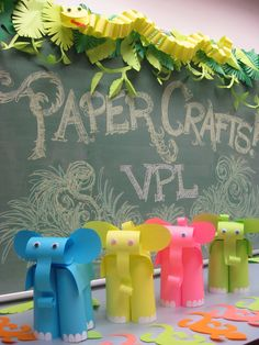 paper elephants, paper snakes, paper lizards and paper lions!