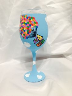 Disney's UP inspired hand painted wine glass. by AWhimsicalHoot, $20.00