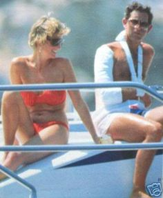 Diana , Princess of Wales and Prince Charles on holiday. Prince Charles was injured in a polo match.