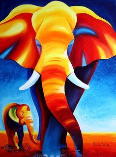 Elephants ACEO Print of original acrylic painting door TetianaArt