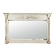 Witte ALBANE houten spiegel H 97 cm