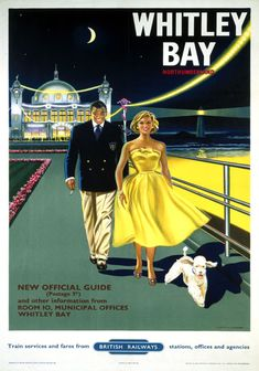 An poster sized print, approx (other products available) - Poster produced by British Railways (BR) to promote train services to Whitley Bay, Tyne and Wear. Artwork by Davies.<br> - Image supplied by National Railway Museum - Poster printed in Australia Posters Uk, Train Posters, Images Vintage, Railway Posters, Vintage Travel Posters, Vintage Ads, British Travel, British Seaside, British Summer