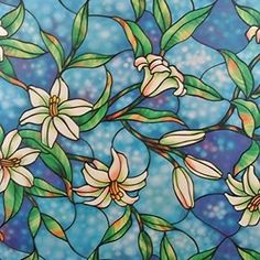 Designer Orchid Decorative Stained Glass Window Film Self Static ...