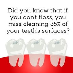 Did you know that if you don't floss you miss 35% of your teeth surfaces?