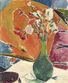 Nelken Auf Orange, by Cuno Amiet - Cd Paintings Fauvism, Galerie D'art, Post Impressionism, Orange Background, Art Database, Modern Artists, Emil Nolde, Alberto Giacometti, Dresden