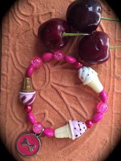 STRAWBERRY ICE CREAM Cones Bracelet-Animal Rescue Jewelry-Pink and White-Dessert-Cherry-Pink Dog Bone-Berries - Milk-Cream-Summer - pinned by pin4etsy.com
