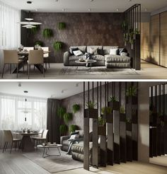 A partial screen that's decorated with plants and a wood accent wall define the living room in this modern apartment.Additional plants hanging from the wall add a touch of nature. #LivingRoom #ModernApartment #AccentWall