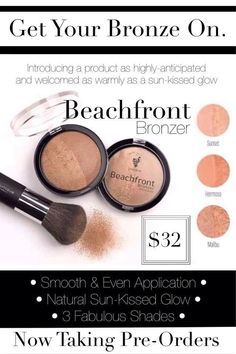 Launching March 1st! Beachfront Bronzer -creates a GLOW without any orange effect -it has 2 sides, the left side is more matte and the right side is more glimmery. The mix is pure perfection! -one compact will last approx. 8-12 months with daily use! Www.youniqueproducts.com/bybee