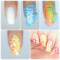 How to create an amazing rainbow gradient bubble manicure using our Bubble Nail Stencils found at snailvinyls.com