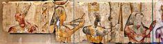 Technical description      Le roi Ramsès II parmi les dieux      vers 1275 avant J.-C. (19e dynastie)      provient du petit temple bâti par le roi Ramsès II à Abydos      calcaire peint      H. : 1 m. ; l. : 1,35 m. ; Pr. : 0,14 m.    B 14, Louvre