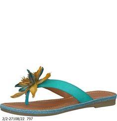 Turquoise Flower Detail Flip Flop- £29.99