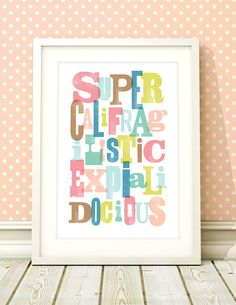 Girls nursery art Mary Poppins inspired by BubbleGumYears on Etsy, £10.49