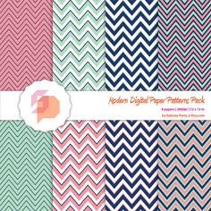 """Pink Coral, Green Mint and Navy Blue Digital Papers Pack in Chevron Pattern. Scrapbooking or Party Invites DIY Kit: 8 x 12""""x12"""" JPG.. $3.00, via Etsy."""