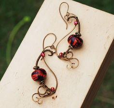 Fire Red Spiral Swirl Wire Wrap Polymer Clay Crystal Artisan Earrings #Jeanninehandmade #Wrap