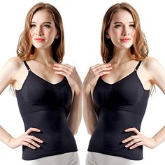 b03ee4fd02 BollyQueena Womens Shaping Adjustable Strap Slim Tank Top Sleeveless  Shapewear 2 Packs Black Large  gt