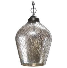 "18.5"" high x 12"" dia. Colani Industrial Loft Mercury Glass Wire Cage Pendant - $323"