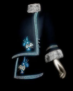 """Paul Poiret (French, 1879–1944). """"Steppe"""" coat, 1912. Black wool embroidered with blue, white, and gray silk thread; gray fox fur. The Metropolitan Museum of Art, Catharine Breyer Van Bomel Foundation Fund, 2005 (2005.209)   Photography © Platon #ChinaLookingGlass #AsianArt100"""