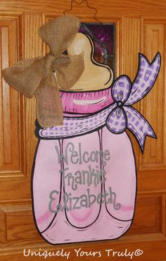 Wooden Baby Bottle Door Hanger by UniquelyYoursTruly on Etsy, $35.00