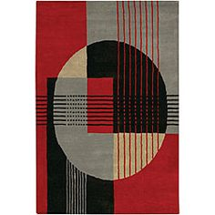 @Overstock - This rug is hand-tufted, made of 100-percent wool, and features a geometric design. The primary color of this rug is grey with accents of red, black and tan.http://www.overstock.com/Home-Garden/Hand-tufted-Contour-Grey-Wool-Rug-79-x-106/5088138/product.html?CID=214117 $403.99