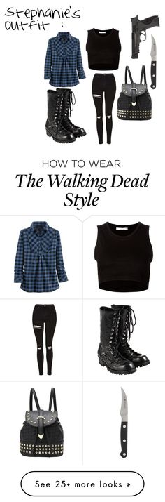 """""""The Walking Dead ~ Stephanie's Outfit"""" by twdcrazed on Polyvore featuring Julien David, Topshop, Comme des Garçons, Smith & Wesson, Zwilling J.A. Henckels, women's clothing, women, female, woman and misses"""