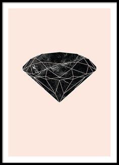 Poster met grafische diamant in marmeren patroon op roze achtergrond. Een erg mooi motief dat past in een kleurrijk en monochroom interieur. Past mooi samen bij onze andere kinderposter en posters met kindermotieven. www.desenio.nl
