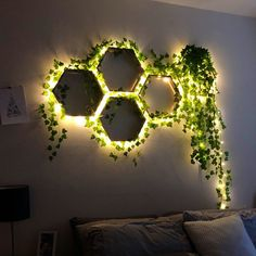 Geometric Shelves, Honeycomb Shelves, Hexagon Shelves, Room Ideas Bedroom, Home Decor Bedroom, Diy Room Decor, Creative Wall Decor, Creative Walls, House Plants Decor