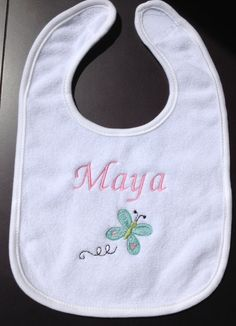Baby Girl Butterfly Bib Free Personalization by ChainStitchers, $10.49
