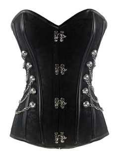 185d5f0229a Charmian® Women s Brocade Steampunk Gothic Punk Steel Boned Corset with  Chain Stud Black XX-Large