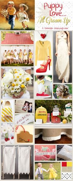 Wedding Inspiration Board - Puppy Love, All Grown Up. A modern country wedding with eyelet, burlap, red, yellow, daisies and strawberries
