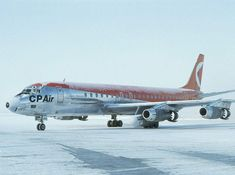 Empress flight departing for Vancouver. This one is carrying an extra RR Conway engine in the pod (inboard of Number 2 engine). - Photo taken at Toronto - Lester B. Pearson International (Malton) (YYZ / CYYZ) in Ontario, Canada on November Pacific Airlines, Canadian Airlines, Jet Airlines, Douglas Dc 8, Ontario, Mcdonald Douglas, Air Transat, Bomber Plane, Douglas Aircraft