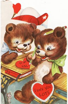 Large Vintage Valentine   Bears And An Airplane Of Love   Circa 1945.  Adorable