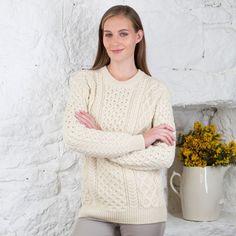 Womens Blasket Irish Aran Sweater | Merino Wool & Cashmere
