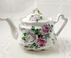 Tetera vintage, blanco con rosas, tetera, tetera Vintage, Arthur Wood & hijo